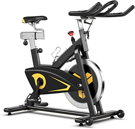 Goplus Magnetic Exercise Bike, Stationary Belt Drive Bicycle, with LCD Monitor, Indoor Cycling Bike for Home Gym Cardio Workout (30 lbs Flywheel)