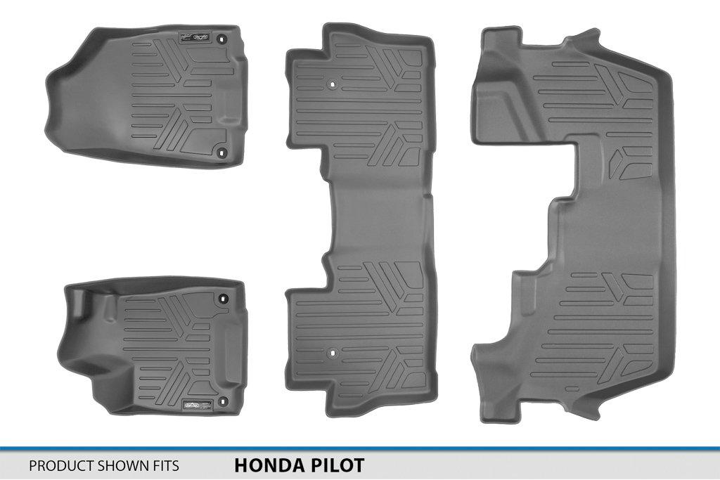 No Elite Models SMARTLINER Floor Mats 3 Row Liner Set Grey for 2016-2019 Honda Pilot