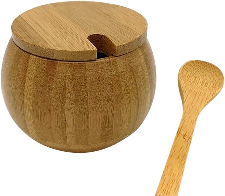 tarros de madera de bamb/ú salero con cuchara Color madera. Tarro de especias de cocina Creative Bamboo Home redondo condimento tarro de cocina resistente a la humedad
