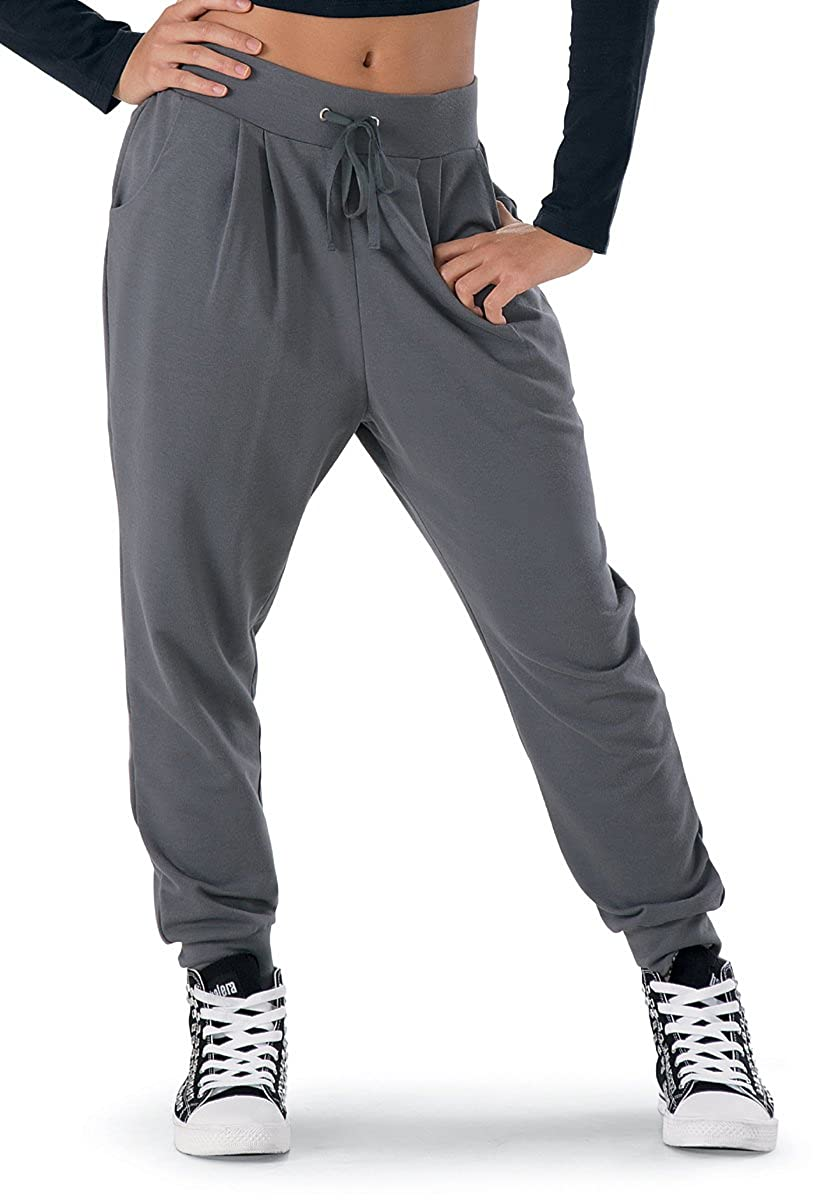 609bcb4574f Loose-fitting unisex harem-style sweatpants for hip-hop dance or daily  wear. Comfortable wide drawstring waistband. Front pockets. Imported
