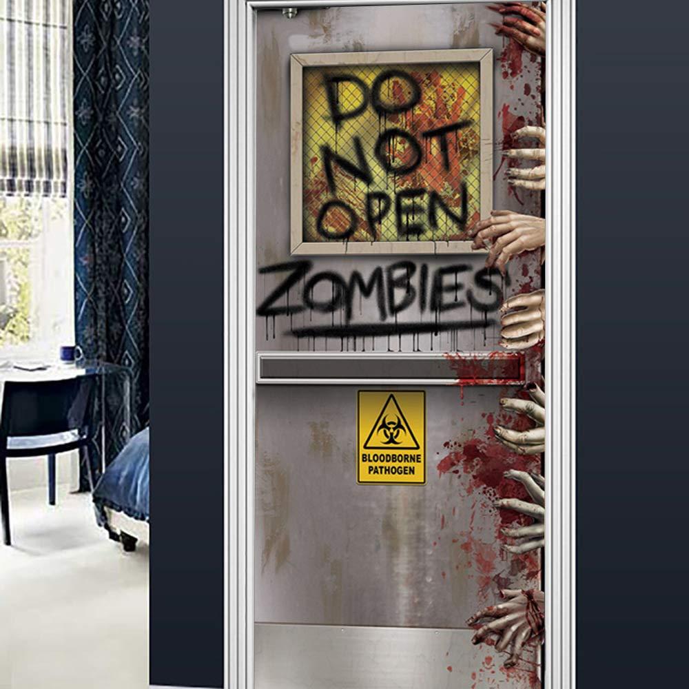 Halloween Horror Door Sticker 3D Creative Door Sticker Halloween Haunted House Decorative Door Sticker Window Door Cover Sticker for Halloween Decoration,D by WWWO