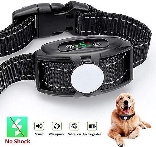 HAPYTHDA Dog Bark Collar Rechargeable – Anti Bark Training Collar with Beep Vibration and Adjustable Sensitivity,No Harm Shock Bark Control Collar for Small Medium Large Dogs