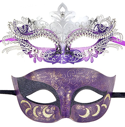 Couples Pair Half Venetian Masquerade Ball Mask Set Party Costume Accessory (Silver&Purple)]()