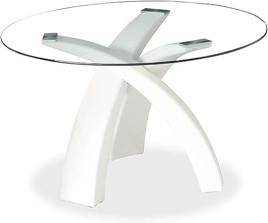 Mobilier Deco - Mesa de Comedor Redonda de Cristal con Base Blanca ...