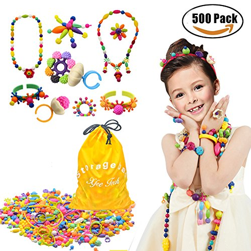 500 Pcs Arty Snap Pop Beads Set with Storage Bag, XFee Creative DIY Jewelry Kit for Headwear Necklace Earrings Bracelets Rings , Idea Birthday & Holiday Gifts Toys for Kids Toddlers Girls Ship Old Pc