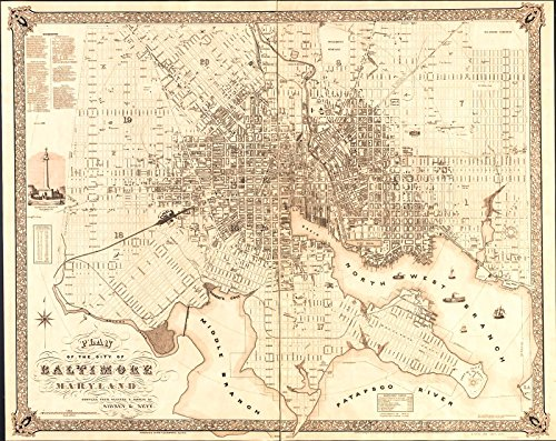 Historic 1851 Map | Plan of the city of Baltimore, Maryland 30in x ()