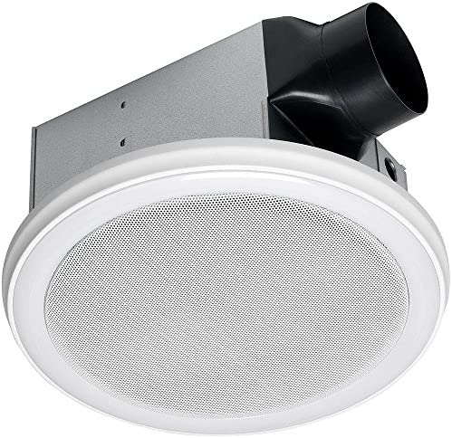 Homewerks Worldwide 7130-06-BT Decorative White 100 CFM Bluetooth Stereo Speaker Bathroom Exhaust Fan with LED Light and Remote