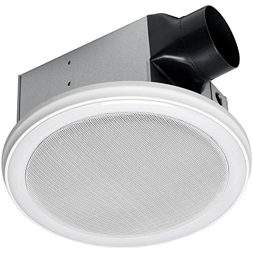 Homewerks Worldwide 7130-06-BT Bluetooth Bathroom Fan Decorative White 100 Cfm Stereo Speaker Exhaust LED Light and Remote