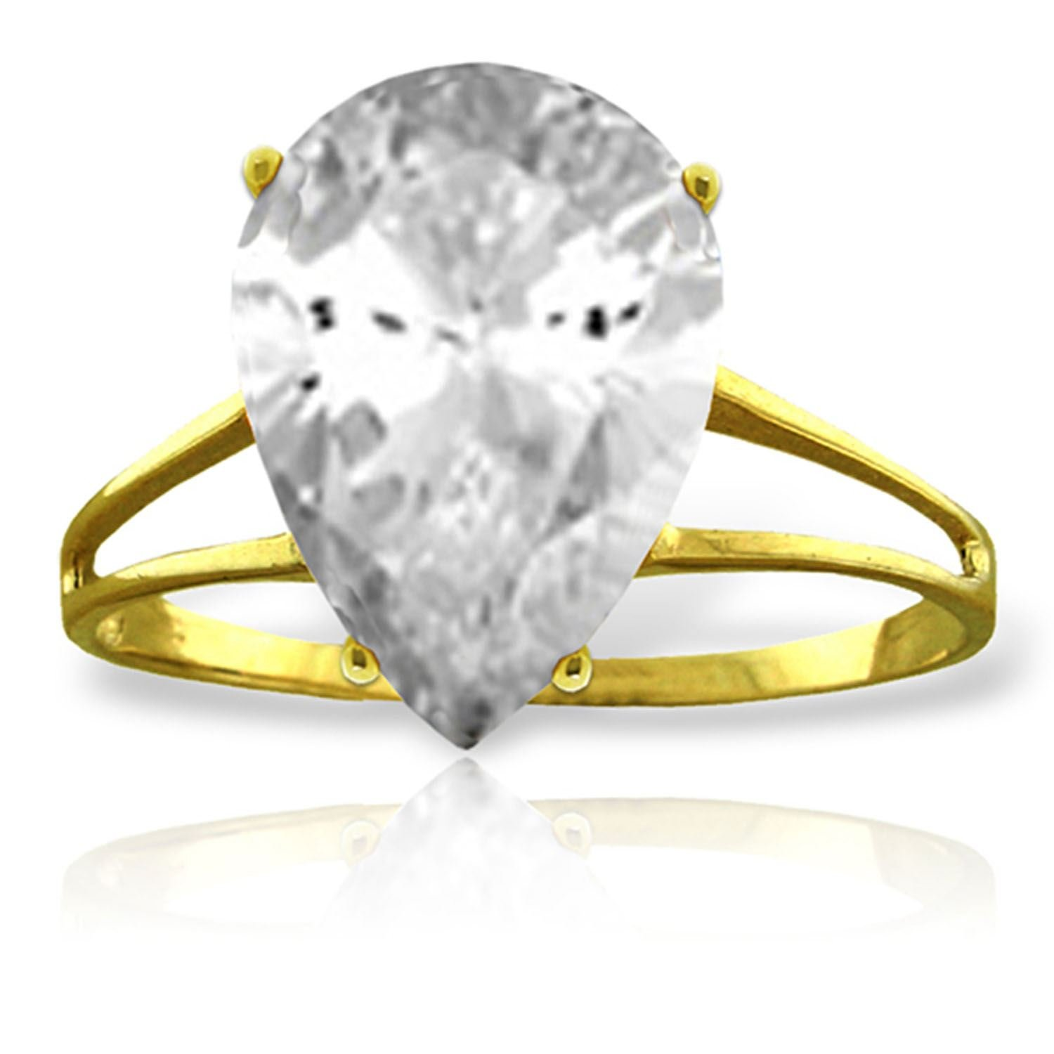 ALARRI 5 Carat 14K Solid Gold Ring Natural White Topaz With Ring Size 8.5