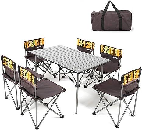Alf Mesa y Silla de Camping Mesa Plegable y Juego de 6 sillas ...