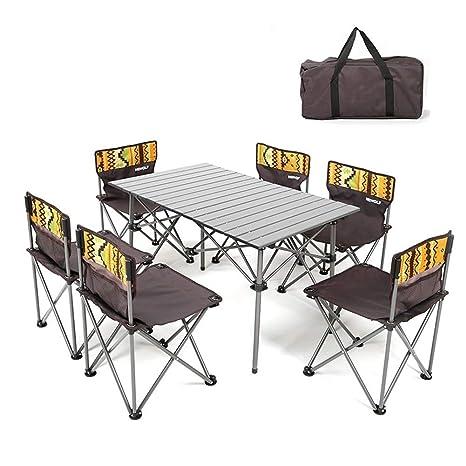 KXBYMX Mesa y Silla de Camping Mesa Plegable y Juego de 6 ...