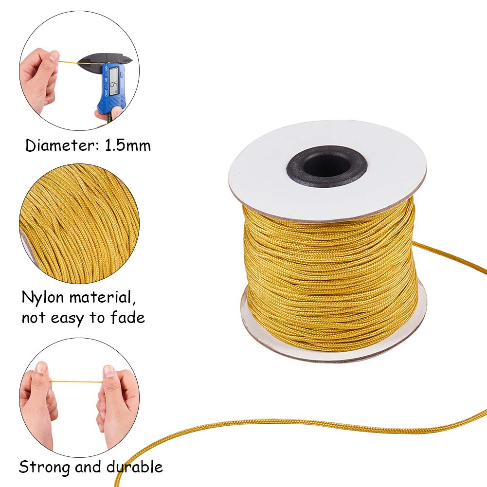 PandaHall Elite About 100 Yards//Roll 1.5mm Golden Nylon Thread Braided Lift Shade Cord Venetian//Roller Blinds Replacement Cord About 91m