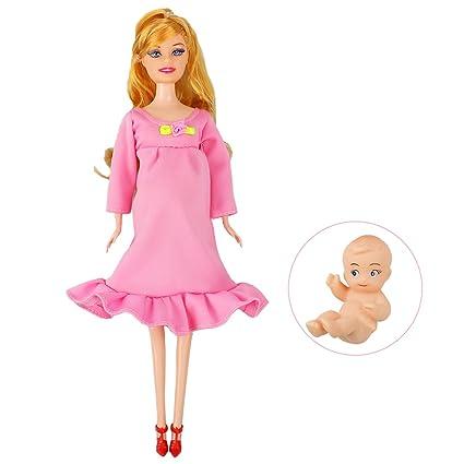 Rocita muñeca Mamá Embarazada Barbie Tiene un bebé en su Barriga Juguete Atractiva para niño Juguete