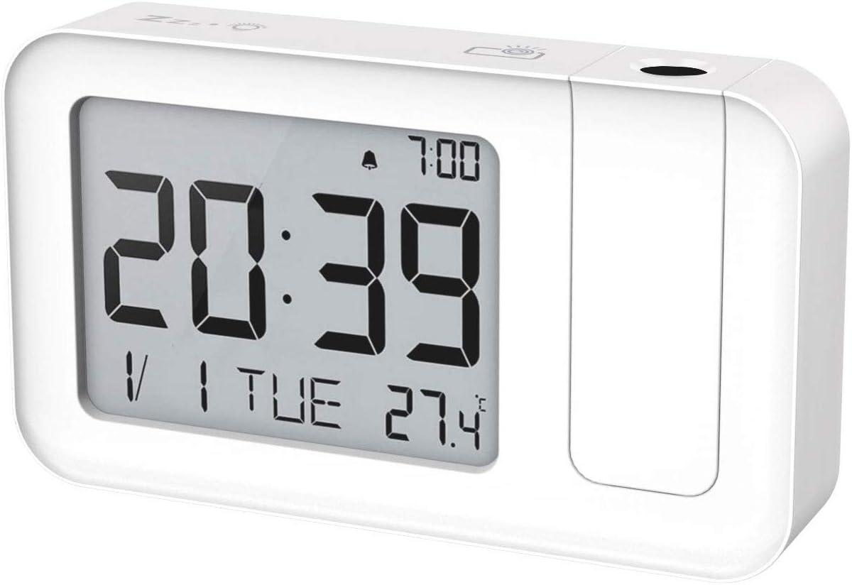 MoKo Proyección LCD Digital Reloj Despertador, Reloj Alarma Inteligente con Proyección de Tiempo, Volumen de Alarma Ajustable, Alimentado por USB o Batería y Función de Interruptor de 12/24H y ℃ / ℉