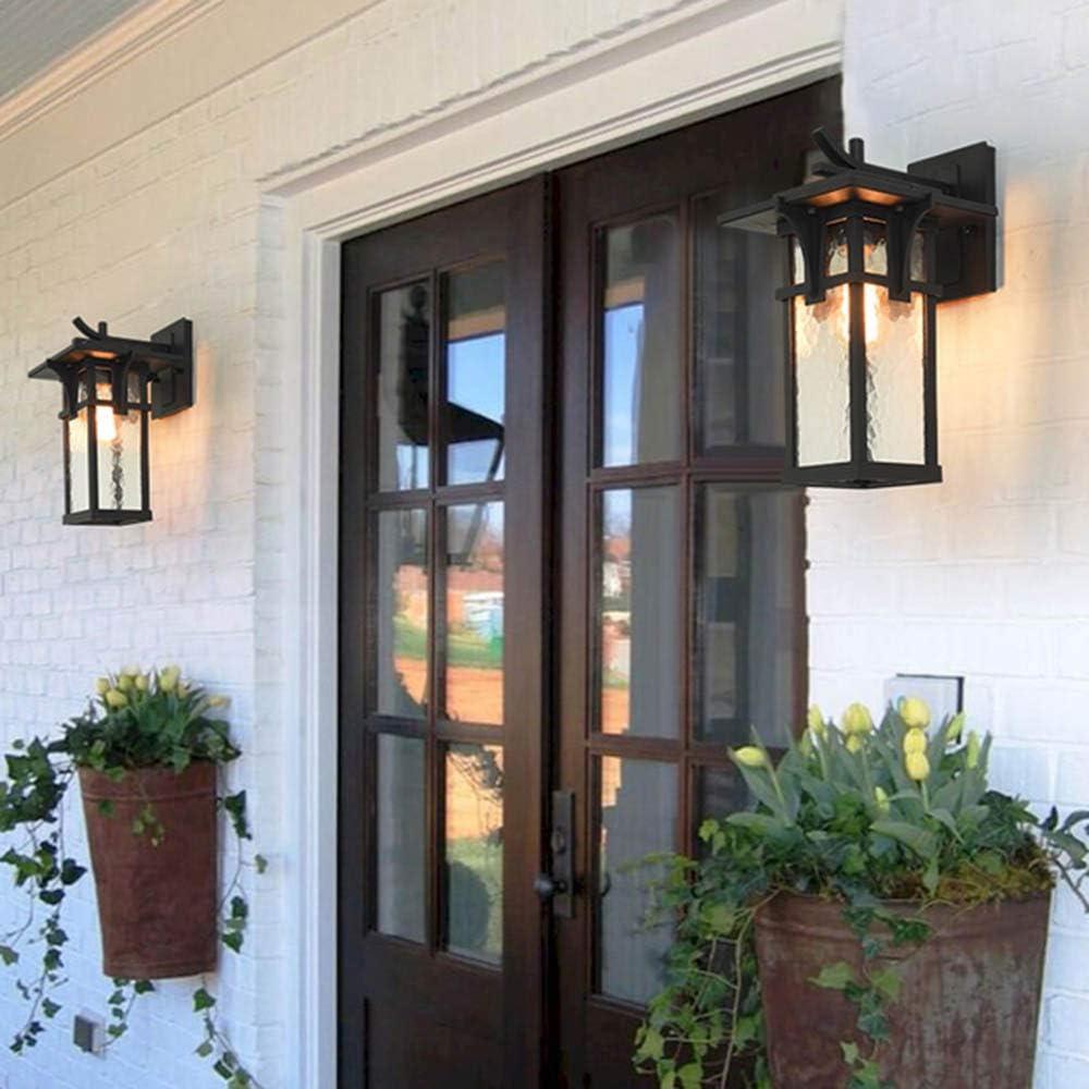 Retro Exterior Pared Luz Impermeable Aplique Exterior Interior Negro Aluminio Y Apliques De Vidrio Para Balcón Escaleras Jardín Pasillo Terraza Mampara Iluminación De Entrada E27 IP44: Amazon.es: Hogar