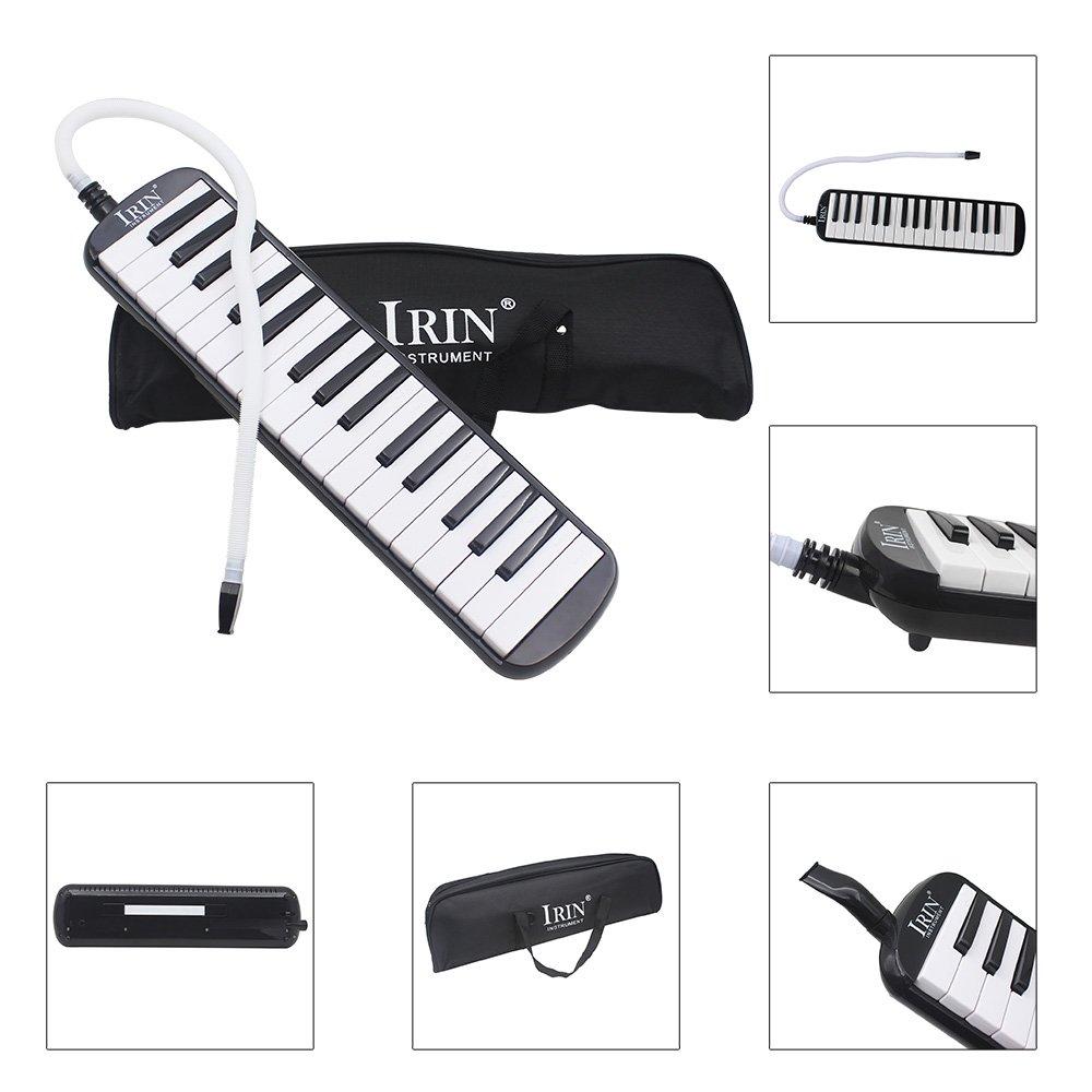 Baisidai 32 Key Piano Style Melodica With Box Organ Accordion Mouth Piece Blow Key Board (Black)