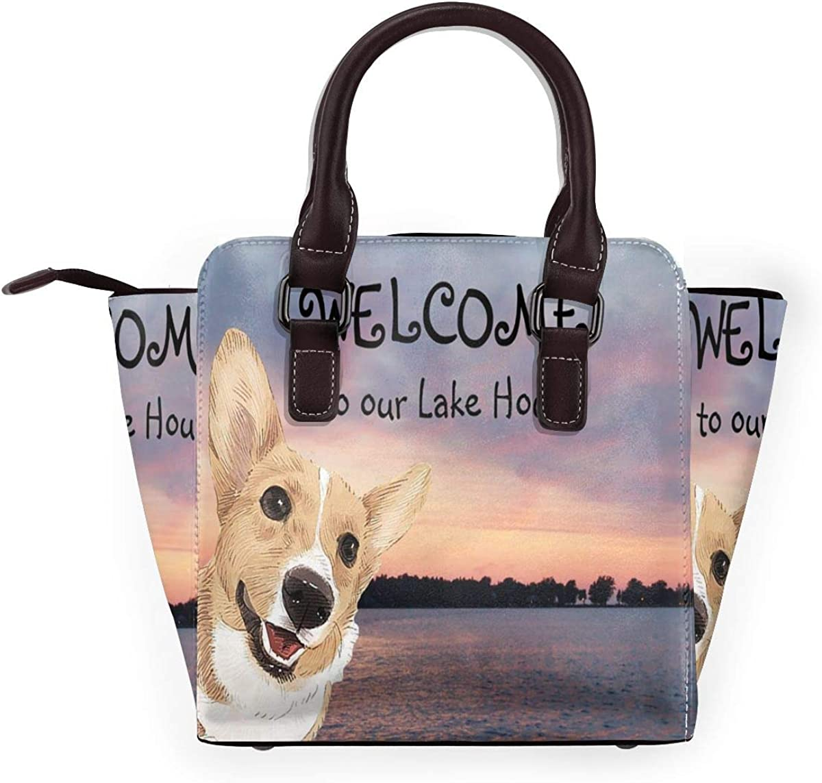 Tote Bag Welcome To Our Lake House Dog Shoulder Bag 3d Printed Non-Fading Handbags WomenS Waterproof Handle Bag Durable Multi-Functional Crossbody Travel Bag With Strap Zipper