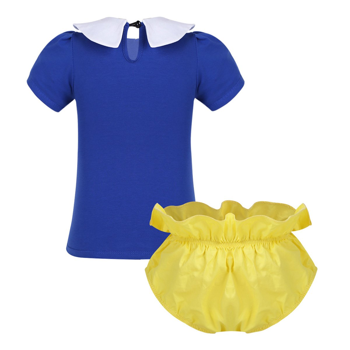 Freebily Infant Baby Girls Collar Prince Outfit Short Sleeve Printed Glittery One Tops with Bloomers Set Yellow/&Blue 18-24 Months