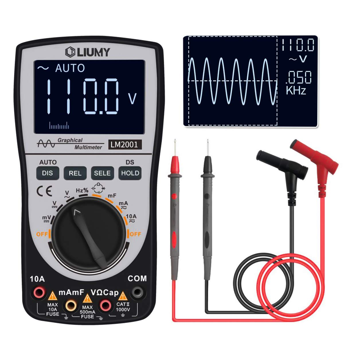 Oscilloscope Multimeter 2.0 Update,LIUMY Professional LED Handheld Oscilloscope Multimeter with 200ksps A/D Automatic Waveform Capture Function,DC/AC Voltage/Current Test,HD Display with Backlight by LIUMY