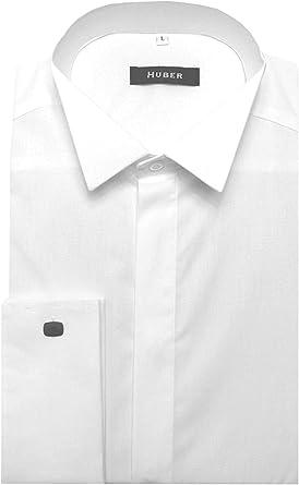 Huber 0021 Camisa de Vestir de Cuello de Pajarita Blanca Francesa puño de la Camisa de Noche de Cuello de Pajarita fácil Planchado S para un Ajuste cómodo 5XL - Blanco, 6XL /
