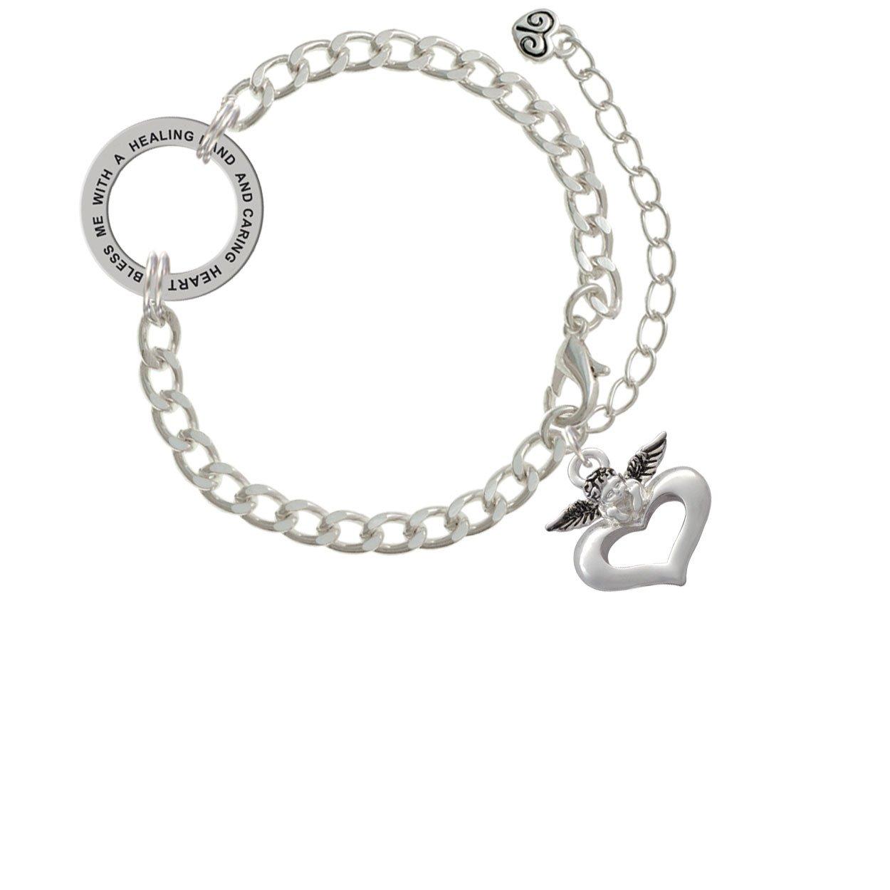 Guardian Angel over Heart Healing Hand Affirmation Link Bracelet