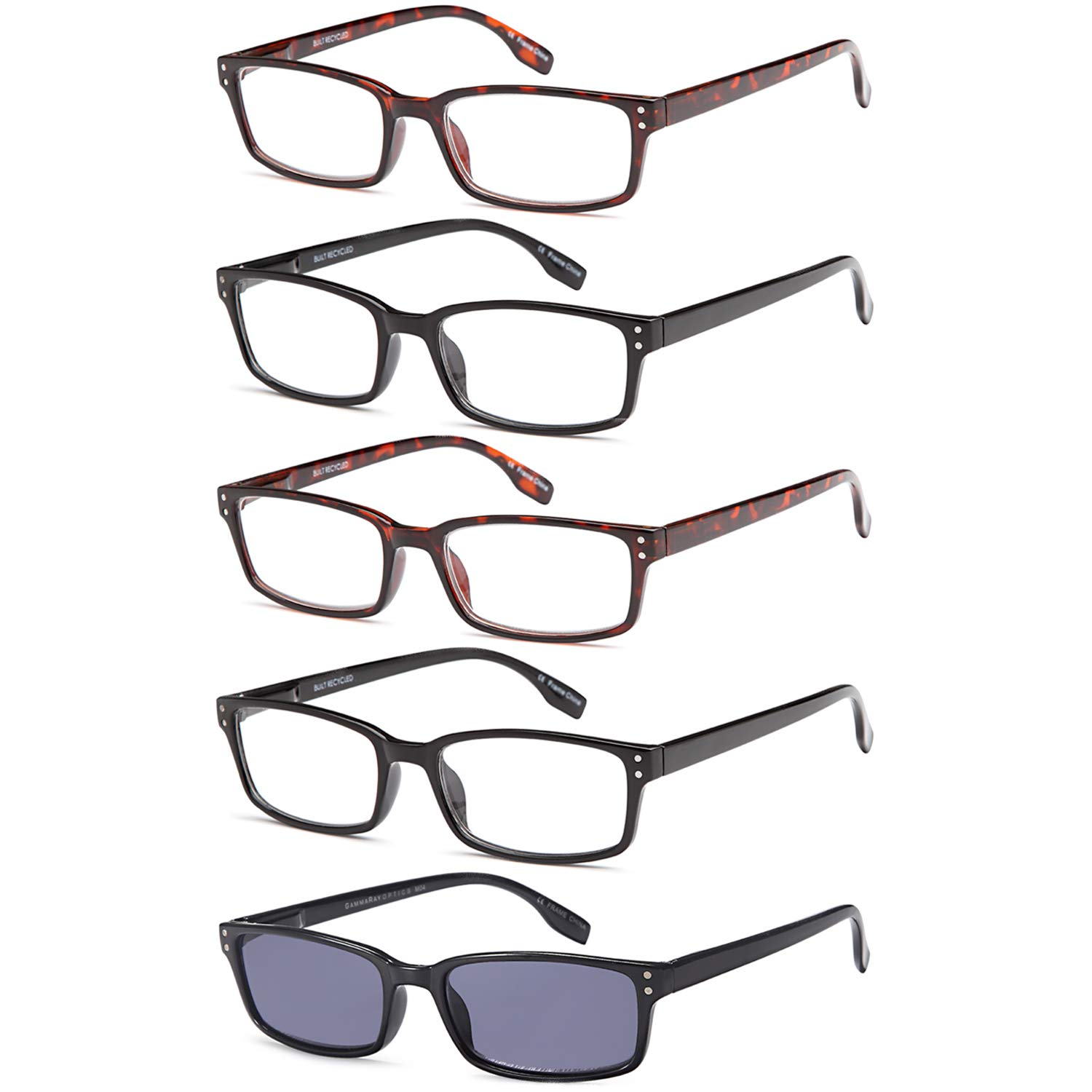 a73eb1fceb GAMMA RAY Readers 5 Pair Readers Quality Spring Hinge Reading Glasses -  Choose Your Magnification product