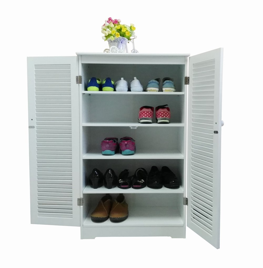 Homecharm-Intl 60x32.5x101.3CM Shoe Cabinet with Louvered Doors,White(HC-005)