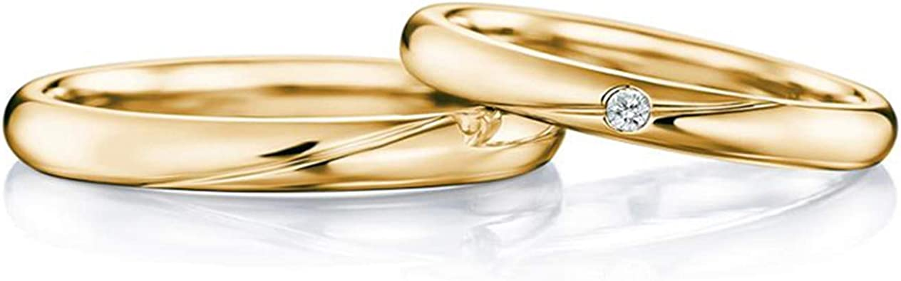 Gnzoe 1pc 18k Yellow Gold Wedding Bands For Mens Womens Polished Line With Diamond 0 04ct Engagement Wedding Ring For Him Her Men Size N 1 2 Amazon Co Uk Jewellery