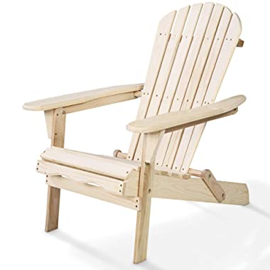 Giantex HW50296-FN Adirondack Chair Foldable Outdoor Fir Construction for Patio Garden Deck Furniture (Wood)