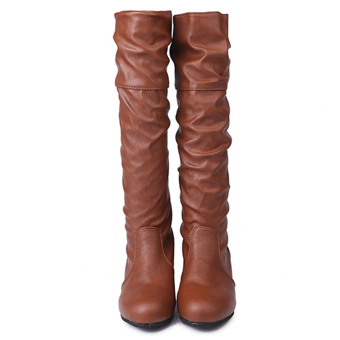 XILALU Women Winter Flat Solid Color Martin Pointed High Long Boots Casual Shoes