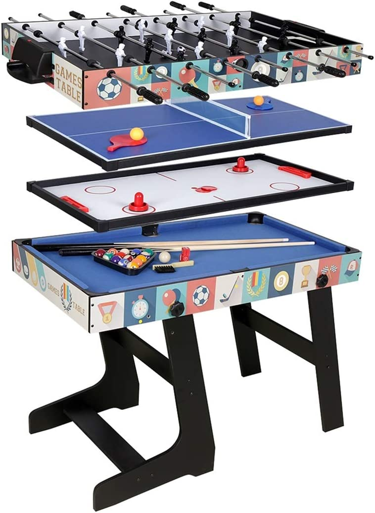 Foosball Table Table Tennis Table 4ft Multi-Function 5 in 1 Combo Game Table- Hockey Table Basketball Table Pool Table