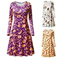 Halloween Costumes for Women, Pervobs Women Halloween Long Sleeve Pumpkins Print Evening Prom Swing Dress Tops