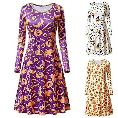 Halloween Costumes for Women, Pervobs Women Halloween Long Sleeve Pumpkins Print Evening Prom Swing Dress Tops