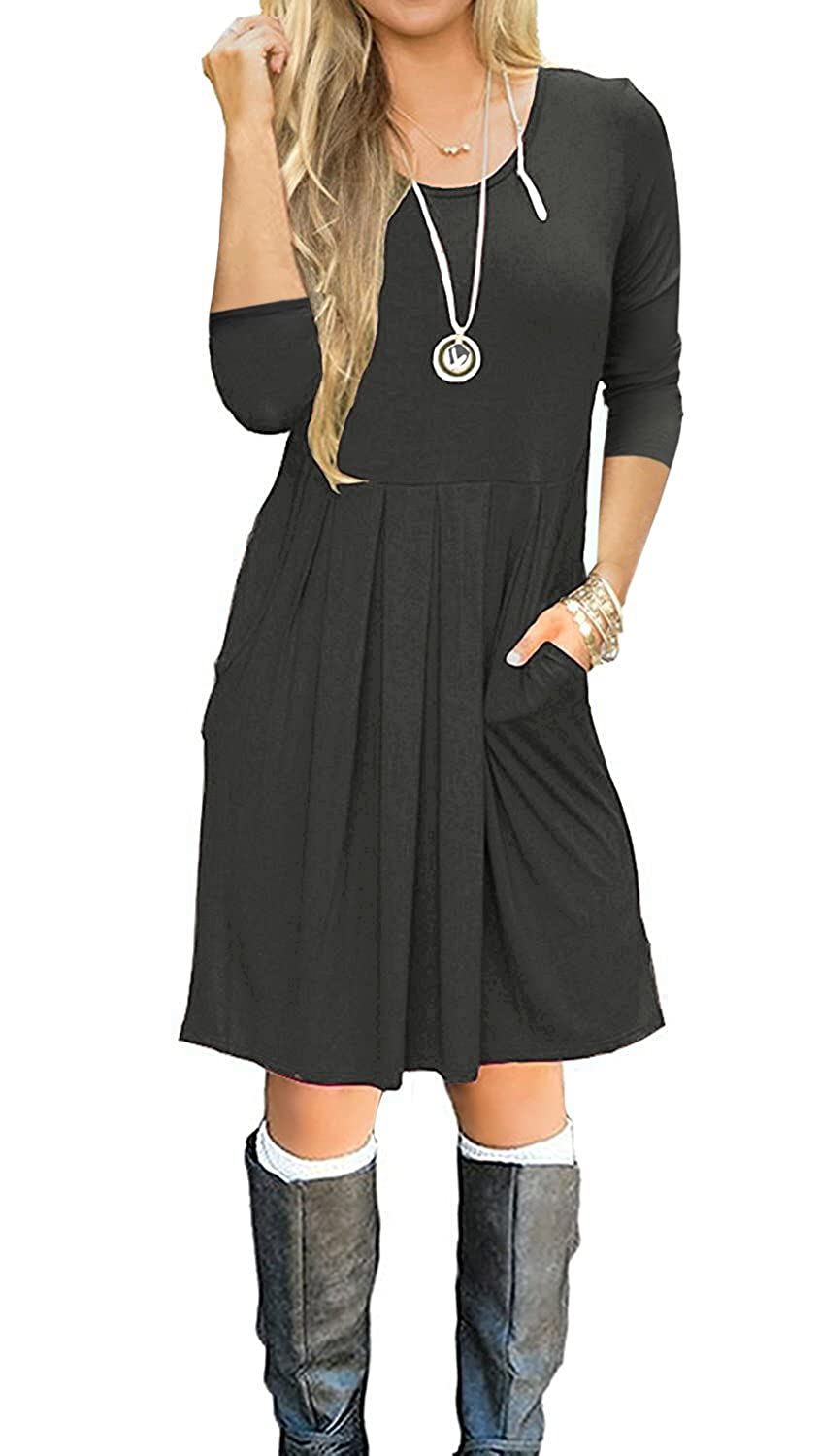 Souqfone Womens Pleated Loose Swing Casual T Shirt Dress With