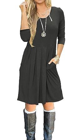 b10faa29867f SouqFone Women s Casual Tunic Tops Sweatshirt Long Sleeve Blouse T-Shirt  Button Decor (Small