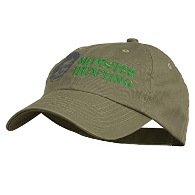 E4hats Halloween Monster Hunting Embroidered Washed Cap - Olive OSFM ... e3c67cdbbe3