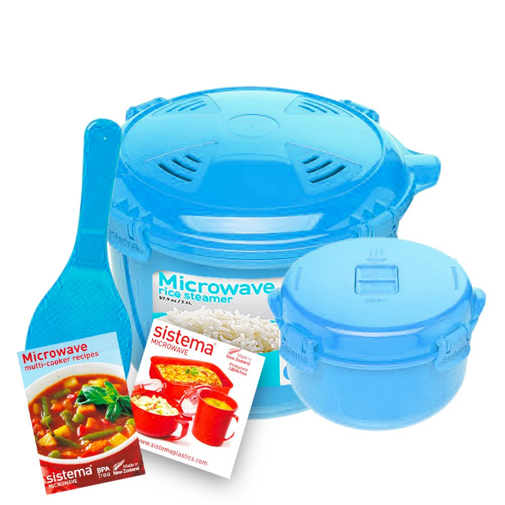 Sistema Microwave Cookware Rice Steamer Set with Lids -- Large Microwave Multicooker, Side Dish Bowl, Spoon and Recipes (BPA Free, 100% Food Safe) (Blue Set)