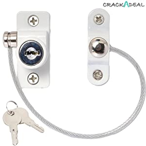 Window & Door Cable Restrictor Lock With Screws Child & Baby Safety Security Wire (White)