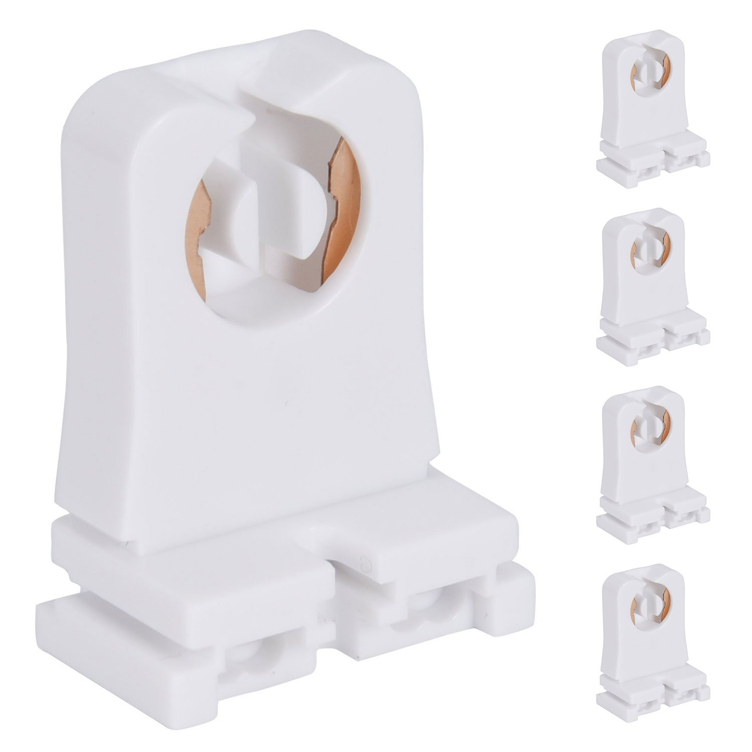 Non-shunted Turn Type T8 Lamp Holder JACKYLED 20-Pack UL Socket Tombstone for LED Fluorescent Tube Replacements Medium Bi-pin Socket for Programmed Start Ballasts