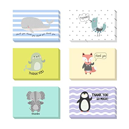 Cute Animals Cartoon Thank You Cards For Baby Shower Birthday Gifts Kids Child Girl Women