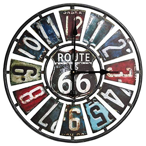 Route 66 License Plate Wall Clock, 23.75