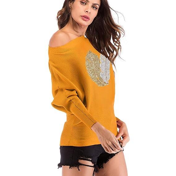 Luckycat Patrón de Plumas de Las señoras Casual Camiseta de Manga Larga O-Neck Tejer Tops: Amazon.es: Ropa y accesorios