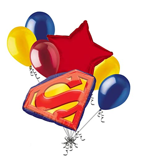 7 pc Superman Emblem Balloon Bouquet Party Decoration Happy Birthday Super Hero