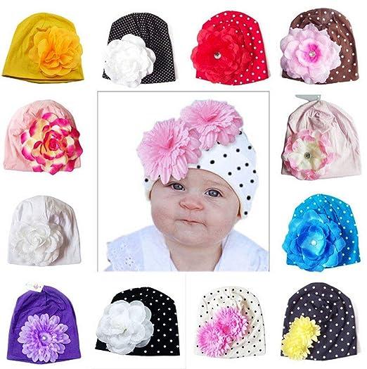 d96563f0b53 Newborn Hospital Hat Infant Baby Hat Cap with Big Flower Soft Floral Cute  Knot Nursery Beanie