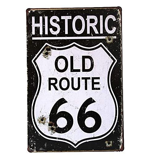 Historic Old Route 66 Póster De Pared Metal Retro Placa ...