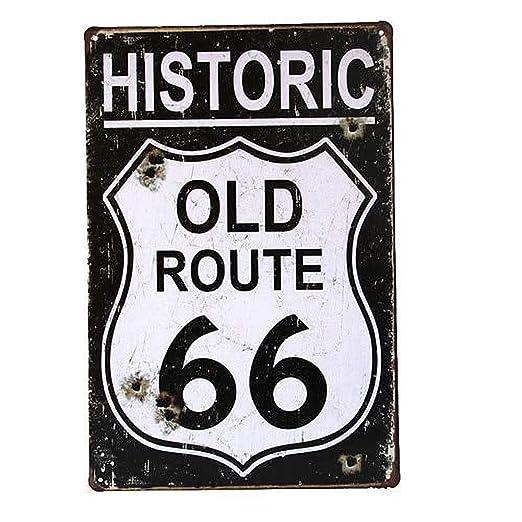 Historic Old Route 66 Póster De Pared Metal Retro Placa ...