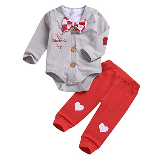 9a36107c AR-LLOYD Baby Boy My 1st Valentine's Day Pant Sets Gentleman Bow Tie Romper  +