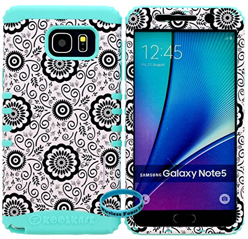 Galaxy Note 5 Case, [Wireless Fones TM Wristband Included] Hybrid Rugged Armor Kickstand Shock Proof Resistant Grip Cover for Galaxy Note 5 (Flower / B ()