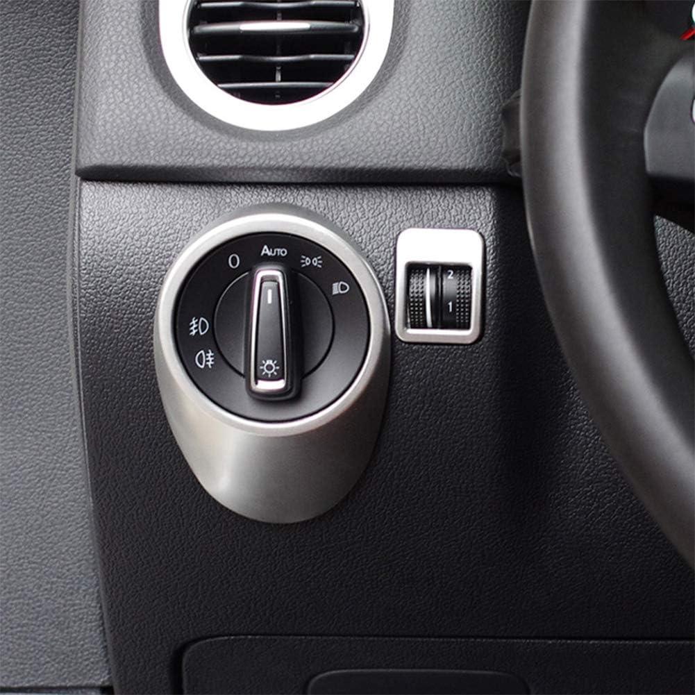 Auto Moulures Int/érieures Super11Six Couvercle de Cadre de Commutateur de Phare de Voiture Apte pour VW Tiguan 2010 2011 2012 2013 2014