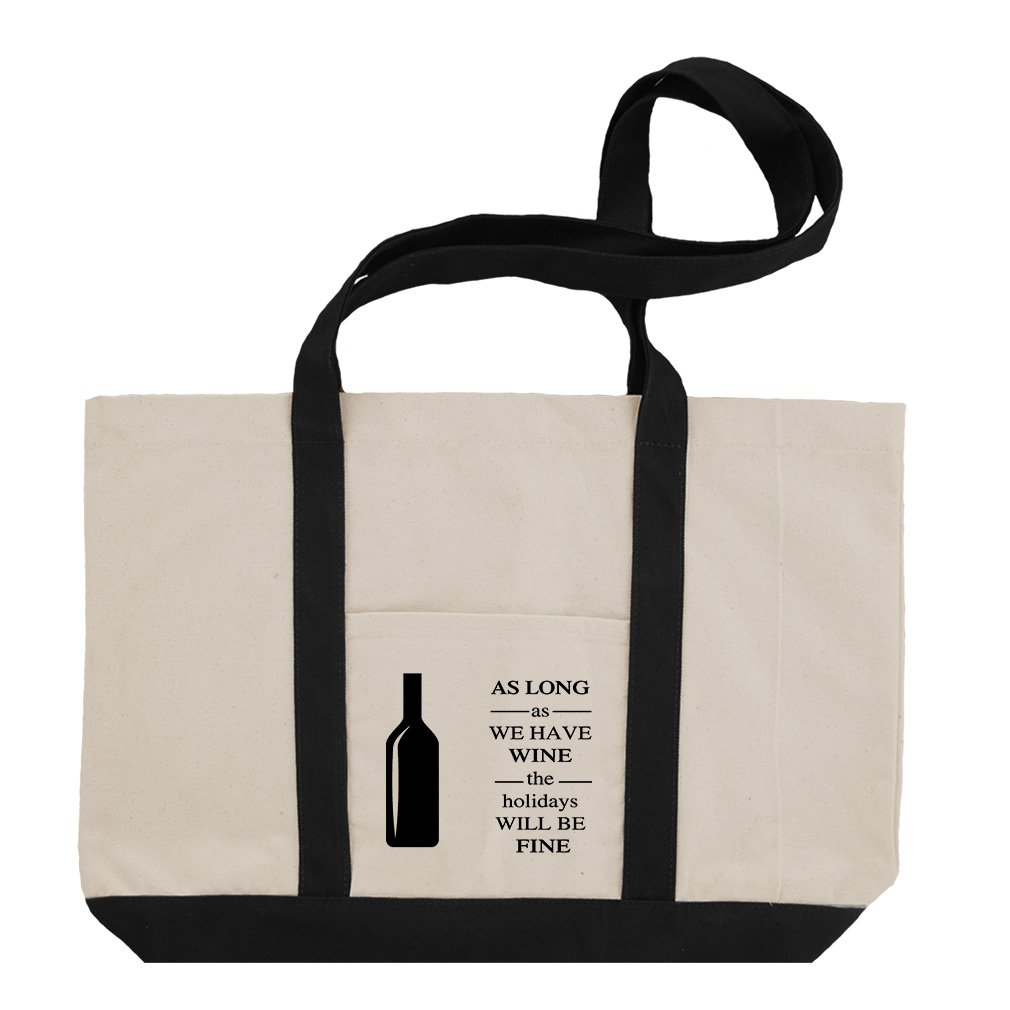 As Long As The Holidays Will Be Fine #1 Cotton Canvas Boat Tote Bag Tote - Black